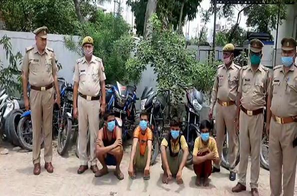 हापुड़: चार अंतरराज्यीय वाहन चोर गिरफ्तार, चोरों के पास से 9 बाइक बरामद