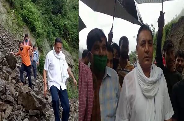 नरेंद्रनगर: मूसलाधार बारिश में भरभरा कर ढह गया पुश्ता, पूर्व विधायक ओम गोपाल रावत ने किया दौरा