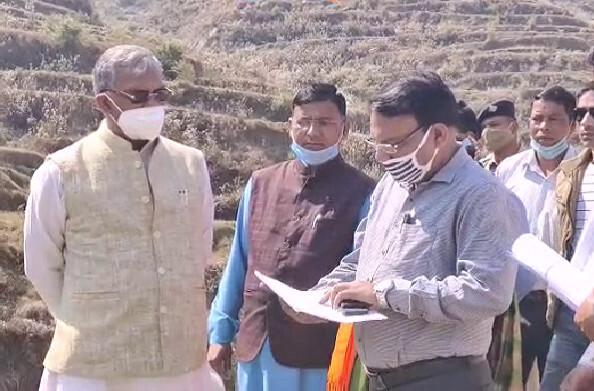 पौड़ी: त्रिवेंद्र ने अपने ड्रीम प्रोजैक्ट ल्वाली झील के निर्माण कार्यों का किया निरीक्षण