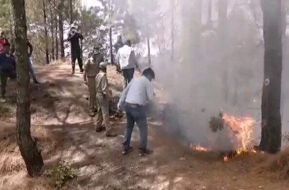 पौड़ी जिले में बढती वनाग्नि की घटनाओं के चलते किए जा रहे माॅक ड्रिल, कर्मचारियों को दिया जा रहा प्रशिक्षण