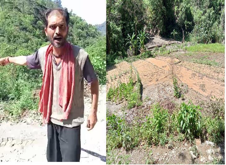 टिहरी गढ़वाल : ठेकेदार की हनक का शिकार हुआ किसान ,सड़क के मलवे से खेत हुए बर्बाद,किसान परेशान
