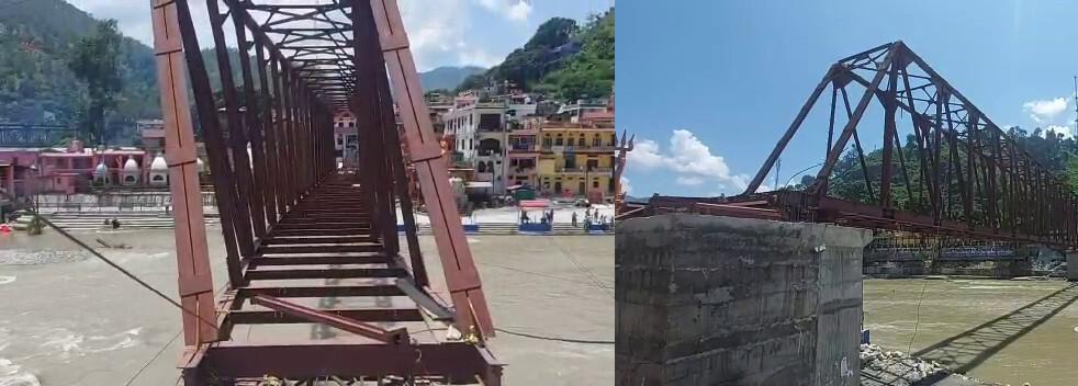 बागेश्वर : बागनाथ मन्दिर के समीप सरयू नदी में निर्माणाधीनपुल सवालों के घेरे में, तैयार होने से पहले ही झुका पुल