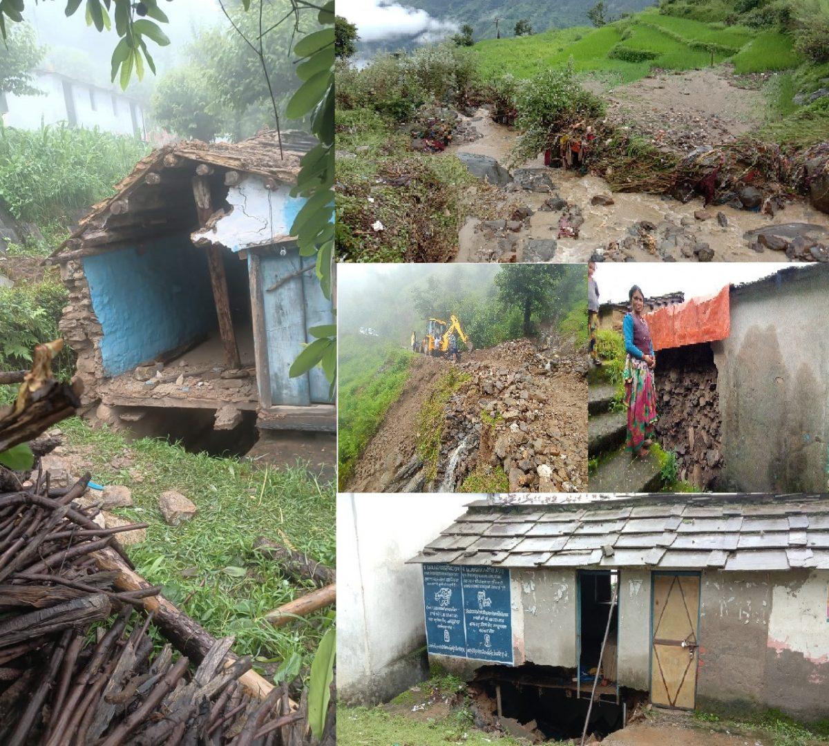 पौड़ी जिले के सीमावर्ती क्षेत्र चौथान में बादल फटने, अतिवृष्टि से भारी नुकसान ,गांव में लोगों के खेत घराट हुए नष्ट