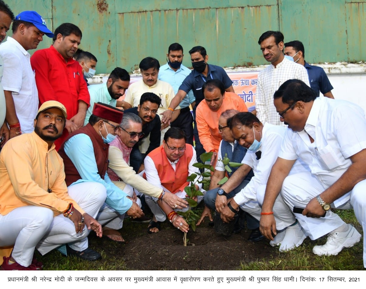 पीएम मोदी के जन्मदिन पर सीएम धामी ने किया वृक्षारोपण